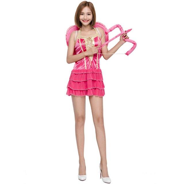 7a4a110be New Bonito Do Cupido Halloween Traje Adulto Disfraces Cosplay Rosa Vermelha  Roupas Exóticas Asas Do Coração