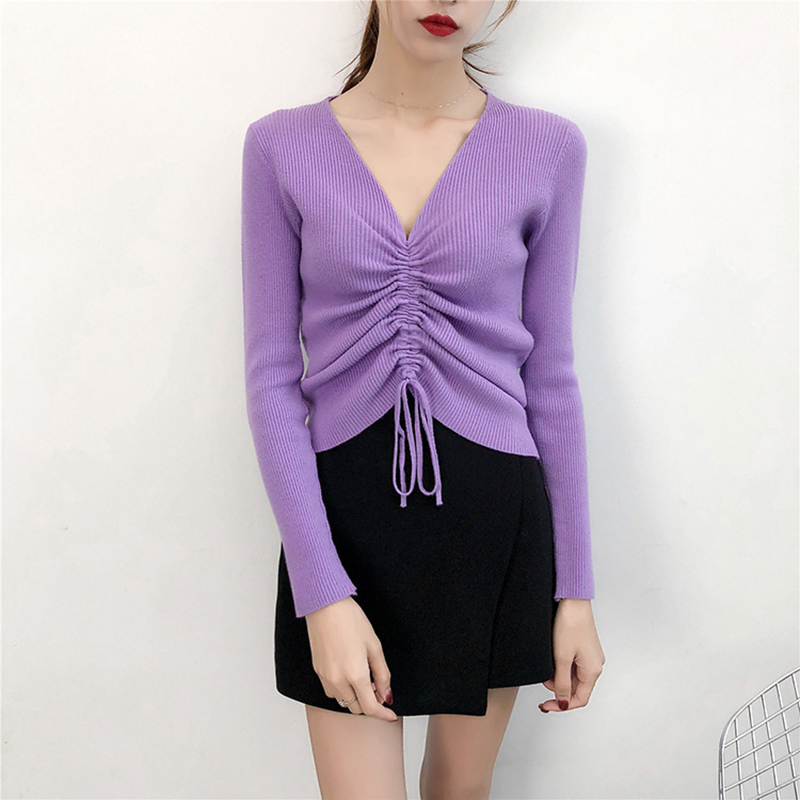 GOPLUS Autumn Winter Lace up Knitting Sweaters Women Sexy V Neck Slim Long Sleeve Elasticity Jumper Solid Pullovers Female Top 5