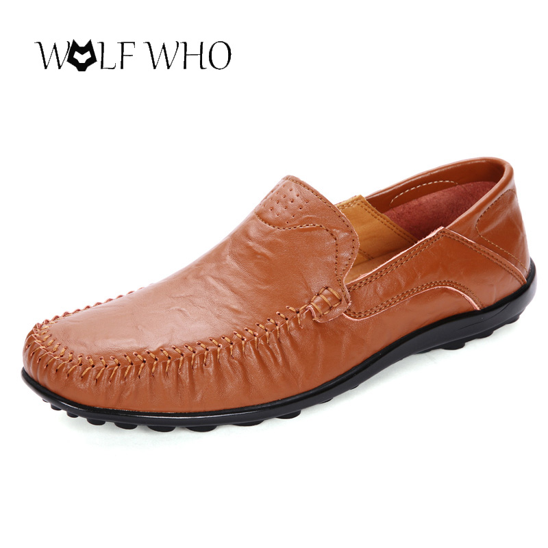Wolf Who plus size 37-45 Genuine Leather Men Flats Breathable Causal Shoes Slip-on Business Lazy Driving Shoes loafers moccasins branded men s penny loafes casual men s full grain leather emboss crocodile boat shoes slip on breathable moccasin driving shoes