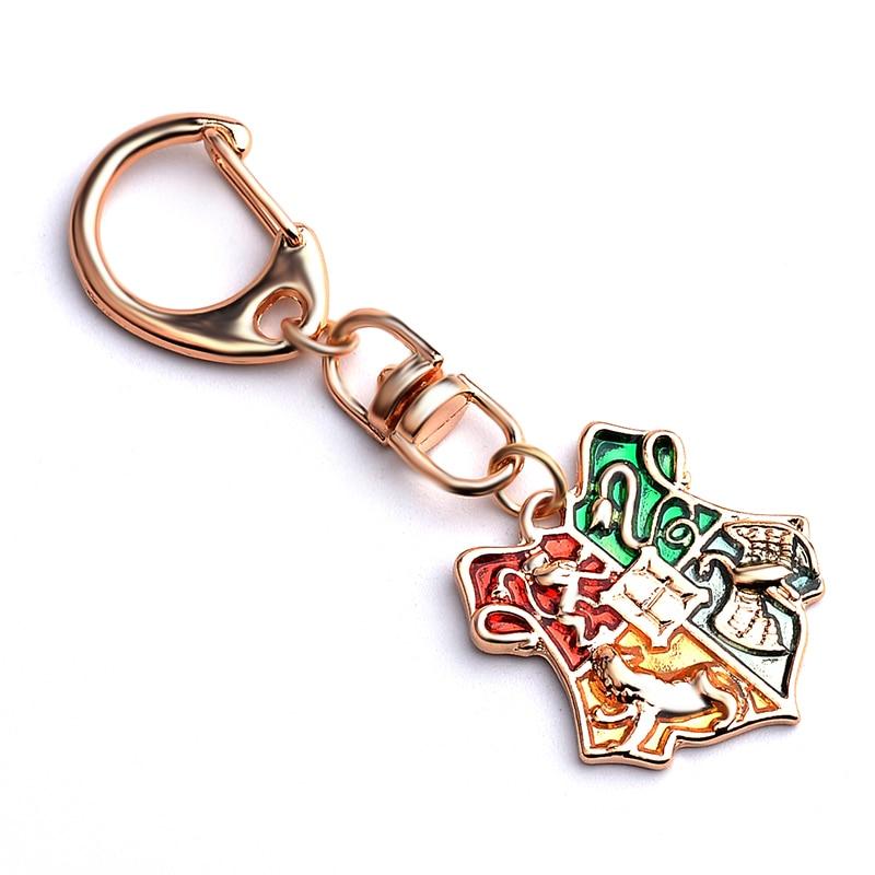 Harry Keyring Movie Hogwarts School Badge Keychain Potter Clef llaveros Hombre Key Holder Pendant For font