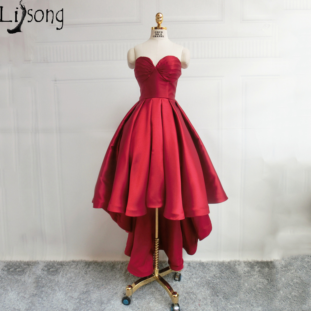 Chic Burgundy Womens Prom Dress Ball Gowns High Low Strapless Maxi ...