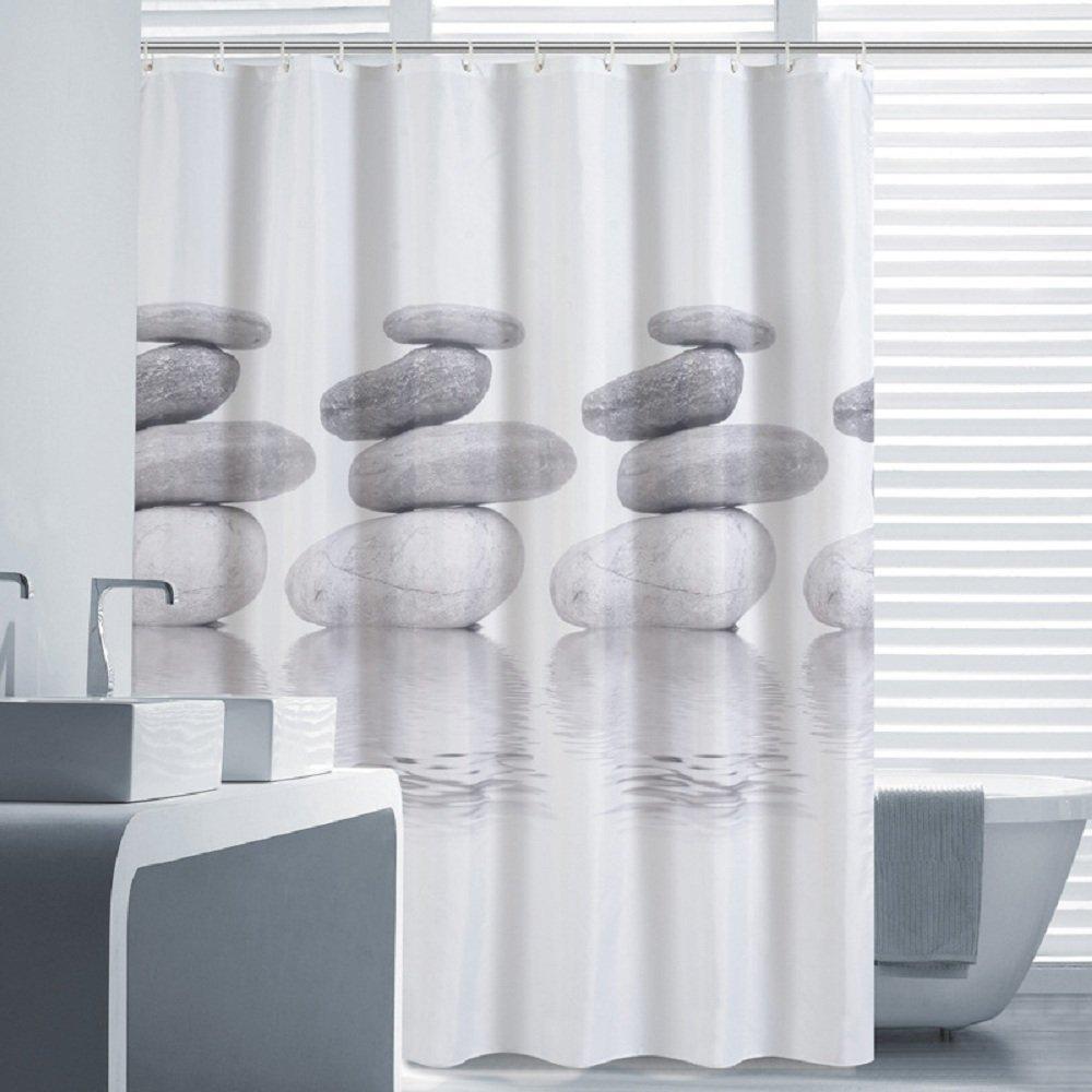 Colonne Salle De Bain Ibiza ~ 180 Cm Moderne Gris Pav Designer Tissu Rideaux De Douche Doublures