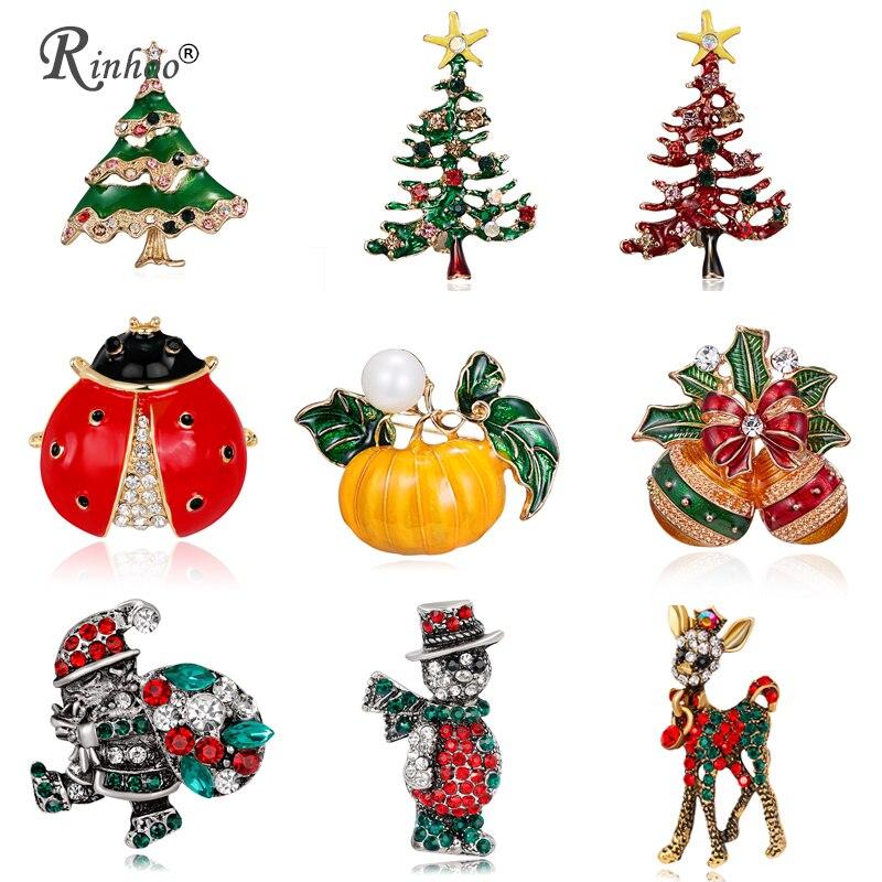 RINHOO 2018 Рождество броши булавки для Для женщин Снеговик Олень Дерево Санта Клаус ювелирные изделия для рождественской вечеринки кристалл брошь булавки подарок