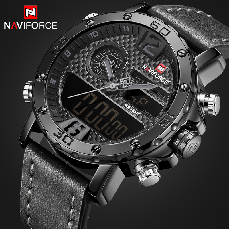 Men Casual Sport Watches Men's Leather Quartz Wrist Watch Male Military LED Date Analog Digital Clock