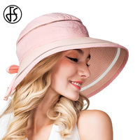 Ladies Spring Summer New Fashion Foldable Outdoor UV Protection Wide Brim Cutton Linen Visor Hat Outdoor