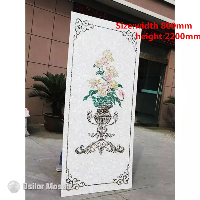 Customized handmade mosaic art mother of pearl mosaic tile art murals for interior house decoration flower and bird pattern
