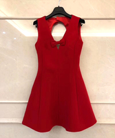 Woman Red Dress For Party And Wedding High Quality Sleeveless Deep V Neck Dress With Bow