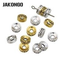 JAKONGO, античные серебряные/Золотые круглые бусины, свободные бусины для изготовления ювелирных изделий, аксессуары для браслетов, ручная работа, 8 мм, 40 шт
