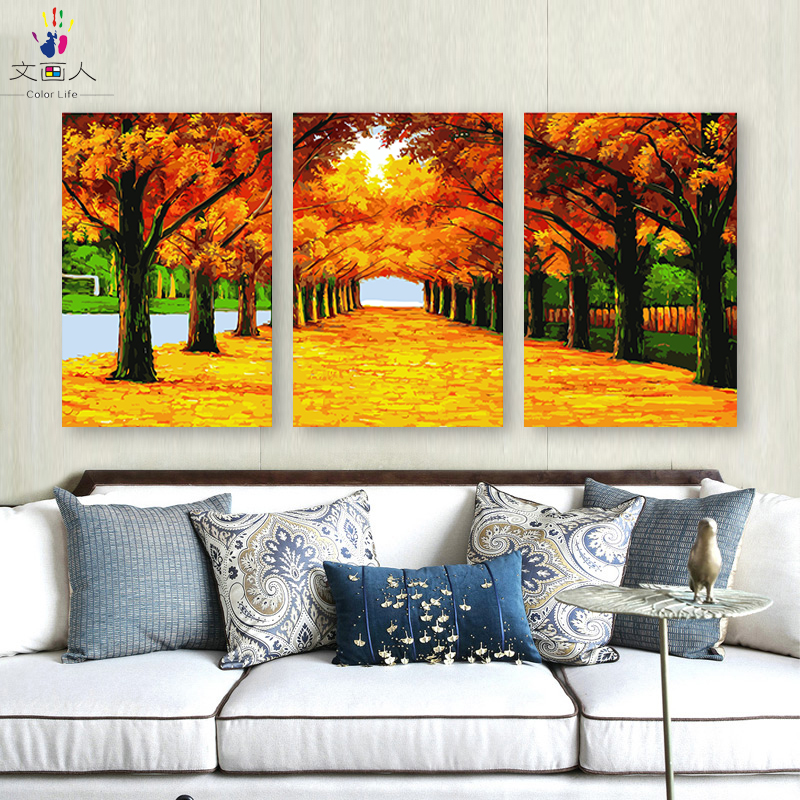 diy painting coloring by numbers with kits on canvas yellow road Means wealth pictures paint by numbers with diy frame