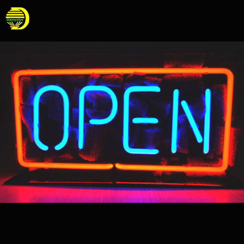 OPEN Neon Sign Glass Tube Cool Neon Bulbs Sign Beer Pub Sign lighted With clear Board Lamp Art Light vintage Handcraft for sale