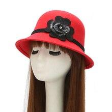 Elegante redondo mujeres Bowler Cap lana de imitación del Bowknot pompom  sombreros Iglesia Cloche sombrero del cb517e59c7b