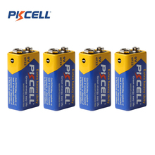 4pcs! Pkcell 9V 6F22 Prismatic Battery Super Heavy Duty Single-use Dry Sex Carbon Zinc Battery Set for Toys DV Digital Camera