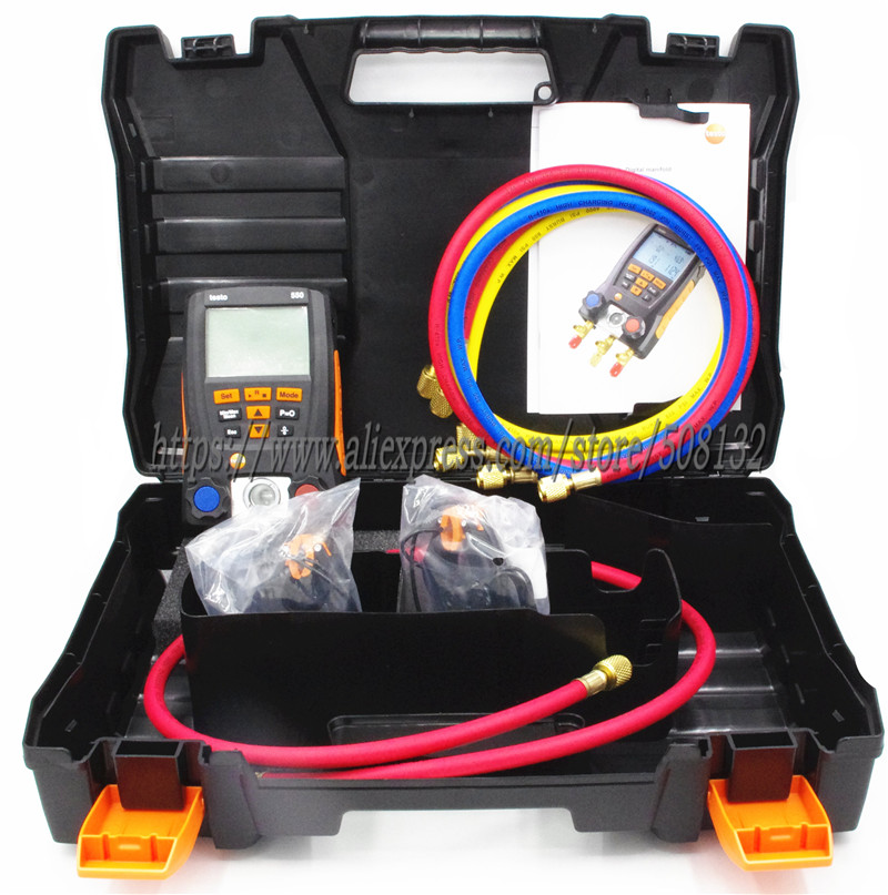 With 4pcs Hoses Testo 550 Digital Manifold Gauge kit with Bluetooth APP 0563 1550 2PCS clamp