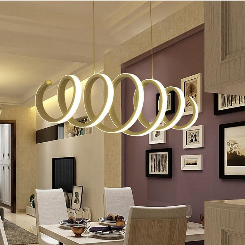 LuKLoy Spiral Spring Acrylic White LED Pendant Light Lamp Living Room Bedroom Dining Room Bar Creative Lighting Fixture (6)