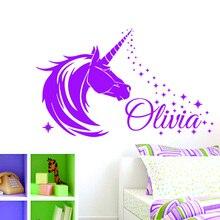 Unicorn & Stars Personalised Name Girls Bedroom Decor Vinyl Wall Sticker Decal Window Christmas Gift F822
