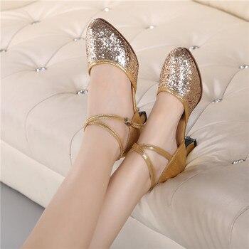 Gold High-heel Glitter Lady Latin Dance Shoes Women's Ballroom Tango salsa Tap Latin Dancing shoesLadies Latin Shoes 2019