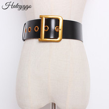 HATCYGGO cinture moda per donna cintura quadrata con fibbia ad ardiglione cinturino in vera pelle femminile cintura da donna per abito Jeans regalo per ragazze