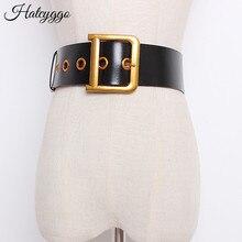 HATCYGGO אופנה חגורות לנשים כיכר פין אבזם החגורה נשי אמיתי עור רצועת נשים חגורת עבור שמלת ג ינס בנות מתנה
