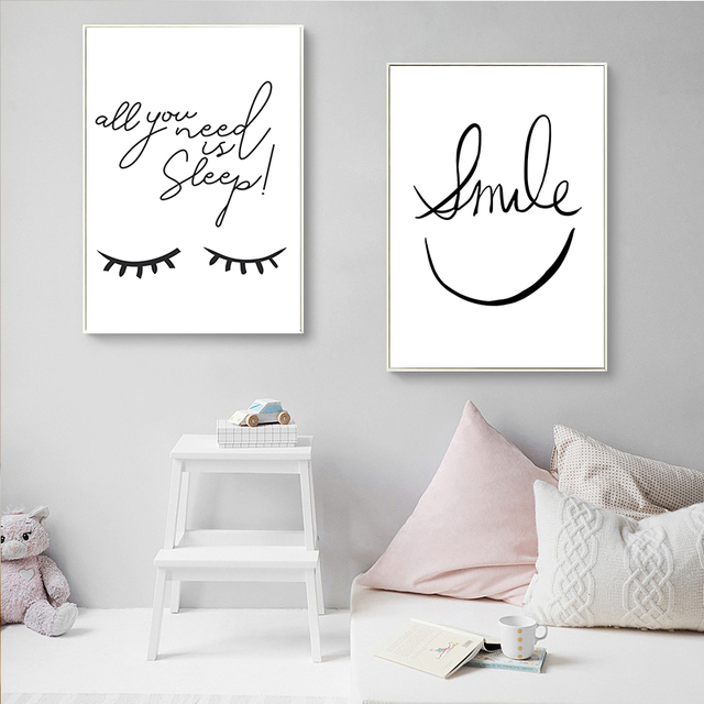 Black and White Smiley Eyes Home Pattern Canvas  4