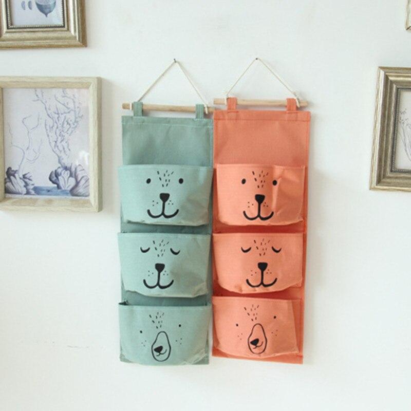 Zakka Style Cartoon Door Hanging Bag Organizador colgante de algodón Bolsillos de pared en la ventana Papelería Cosméticos Almacenamiento # 101