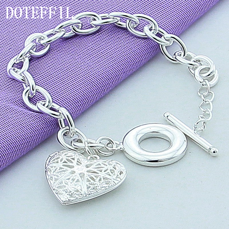AAA 100% Sterling Silver Jewelry Female Hollow Ball Bracelet 925 Silver Heart Bracelet Top Quality