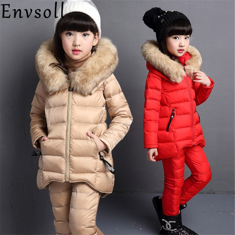 Envsoll Winter Warm Baby Kids Girls Clothes Three Pieces Suits Sets Children Clothing Thicker Vest Coat Sweater Pants Sports autumn winter boys girls clothes sets sports suits children warm clothing kids cartoon jacket pants long sleeved christmas suit