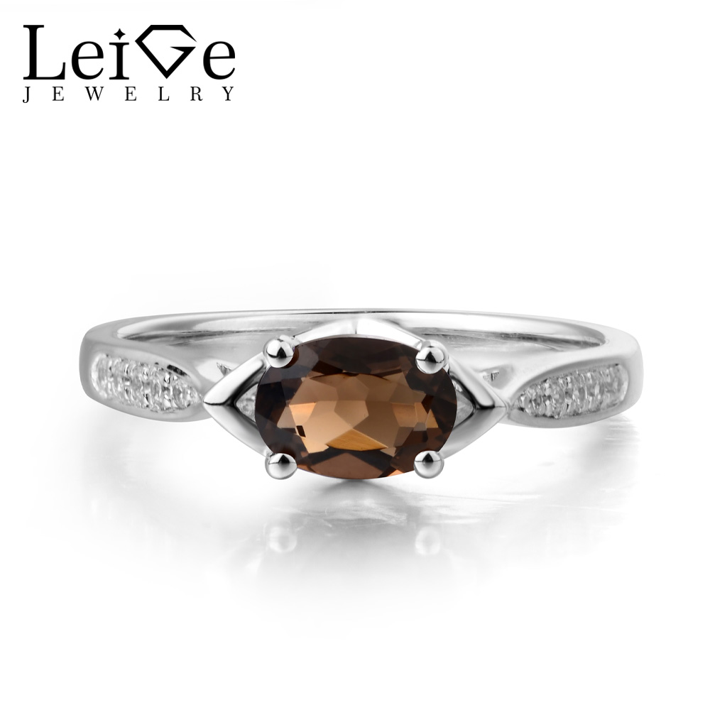 Leige Jewelry Natural Smoky Quartz Ring Promise Ring Solid 925 Sterling Silver Brown Gemstone Ring Vintage Wedding Gifts for Her цена
