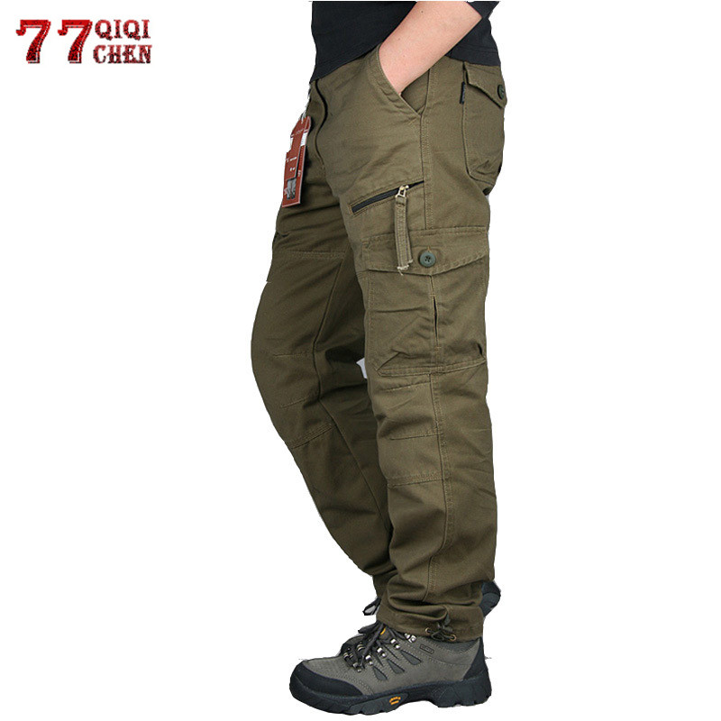 2019 Mens Cargo <font><b>Pants</b></font> Tactical Multi-Pocket Overalls Male Combat Cotton Loose Slacks Trousers Army Military Work Straight <font><b>Pants</b></font> image