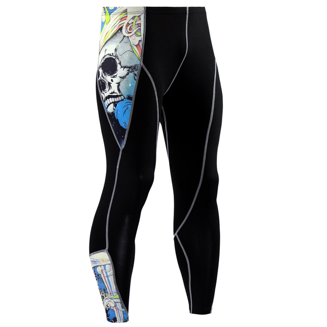 2017 New Fashion Mens Compression Pants 3D Print Quick Dry Skinny  Leggings Tights Fitness MMA Pants Stitching Tousers 3
