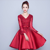 Diamonds Lace Ball Gown 2018 Women's elegant short gown party proms for gratuating date ceremony gala cocktails dresses up 43