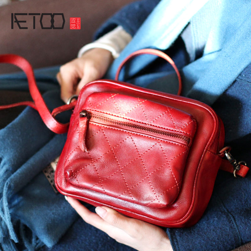 AETOO Leather red Sen Department small square bag retro literary Fan first layer leather shoulder bag diagonal bag simple small aetoo the new first layer of leather handbags leather lingge shoulder bag retro cowardly messenger bag female small square bag