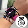 Newly Design Fashion Watch Women's Cartoon Owl Pattern Student 30M Waterproof Quartz Sport Watches Simple Style Ladies Leather W
