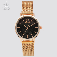 Shengke Hot Fashion Brand Women Golden Wrist Watches MILAN Steel Strap Luxury Female Jewelry Quartz Clock Ladies Wristwatch