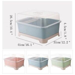 Image 5 - Contenedor de vajilla a prueba de polvo, caja de almacenamiento para el hogar, vajilla de cocina, cubiertos, estante de almacenamiento de estilo de suelo, cuenco organizador