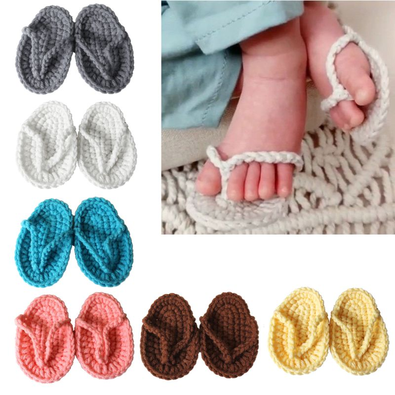 Baby Slippers Photography-Accessories Photo-Props Shoes Newborn Hand-Crochet Fotografia
