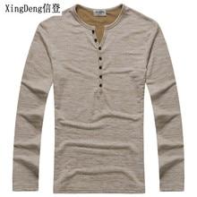 XingDeng Men Long Sleeve cotton Tee Shirt Tops Henl