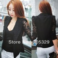 Lace Splicing Long Sleeve Lapel One Single Button Womens Suit Blazer Outerwear Tops