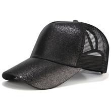 ... 2018 CC Glitter Ponytail Baseball Cap Women Snapback Hat Summer Messy  Bun Mesh Hats Casual Adjustable ... 7c83934b5849