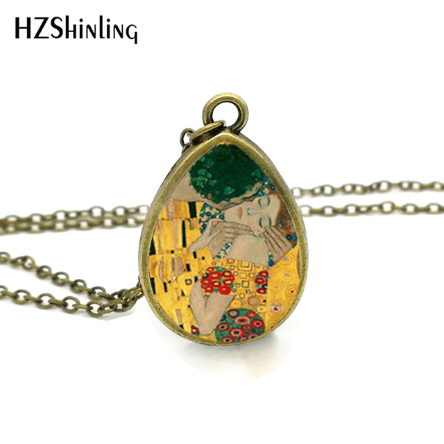 2017 New The Kiss Gustav Klimt Necklace Mother and Child Tear Drop Pendant Paint