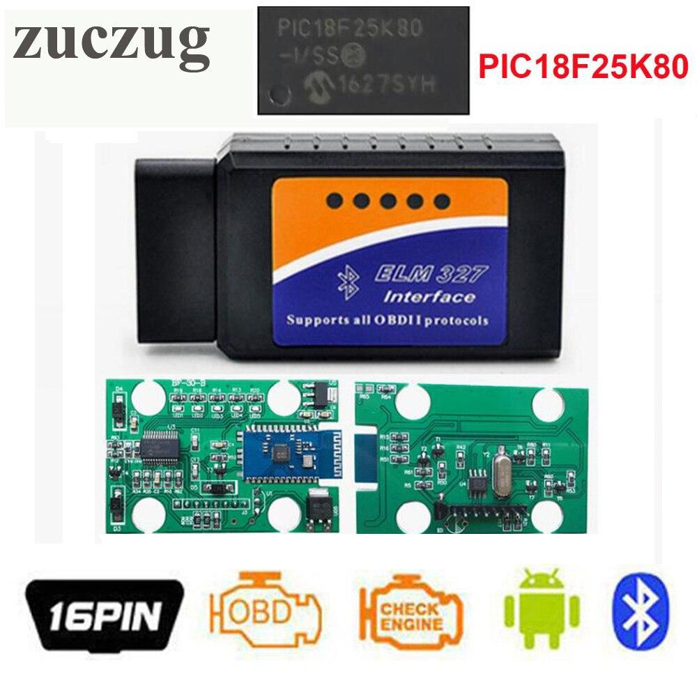 ZUCZUG Haute qualité ELM327 V1.5 Bluetooth OBD2 ELM 327 V 1.5 PIC18F25K80 OBDII Lecteur de Code Outil De Diagnostic Mini OBD2 scan outil