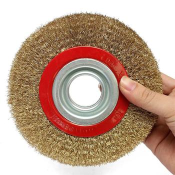 Szczotka druciana koła 125mm jakości okrągły mosiądz galwanicznie stali nierdzewnej szczotka druciana koła do ławki szlifierka części narzędzi tanie i dobre opinie NoEnName_Null CN (pochodzenie) POLEROWANY Wire Brush Szczotka do polerowania 1*Wire Brush
