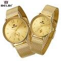 2017 de malla de acero de belbi amantes de los relojes de los hombres top brand mujeres del reloj de oro de lujo del reloj del cuarzo del estilo simple analógica relogio feminino