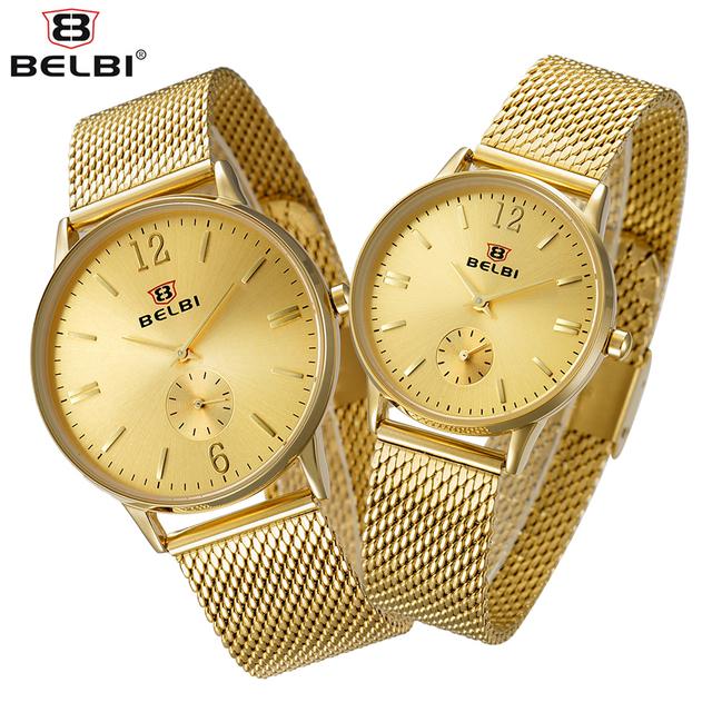 2017 malha de aço belbi amantes assistir homens top marca de luxo relógio de quartzo simples estilo analógico mulheres relógio de ouro relogio feminino