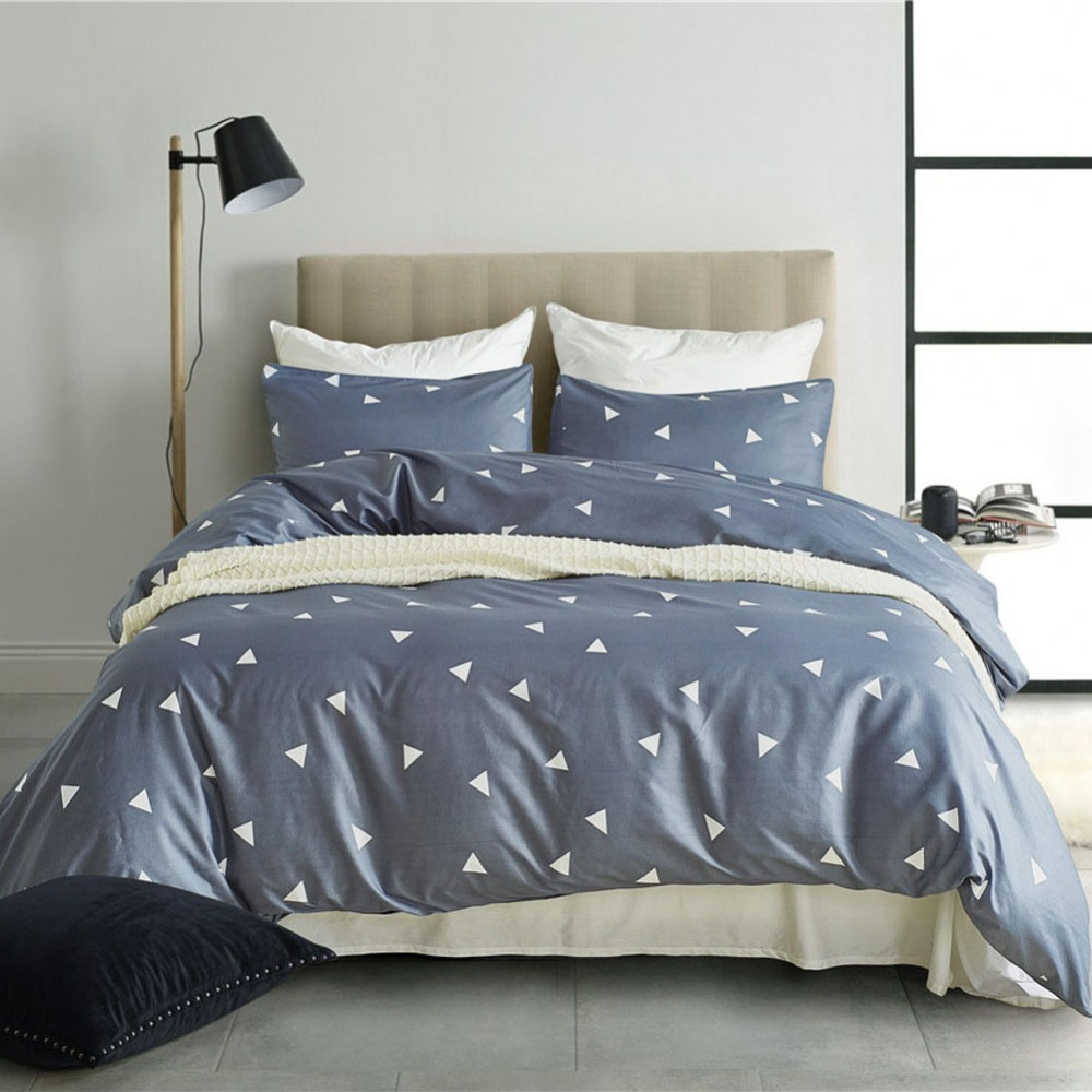 Modern Simple Style King Size Bedding Set Bedclothes Geometric Sanding Pillowcase Duvet Cover Sets Bedroom Home Textiles