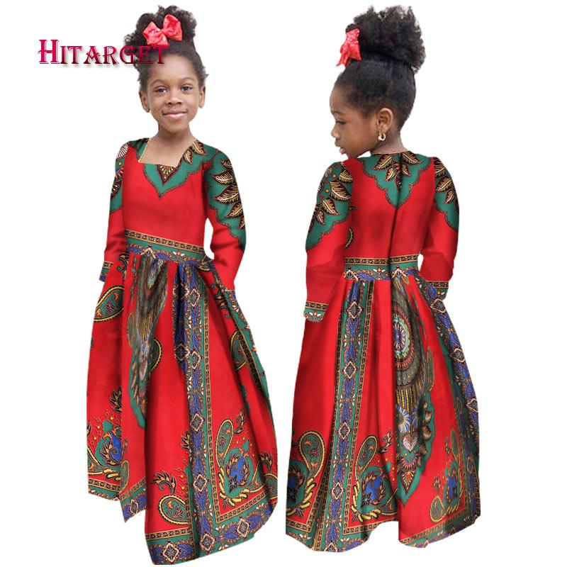 African Autumn Girl Dress Kids Dashiki Traditional Cotton Long