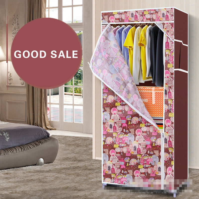 Wardrobe combination of reinforced folding cloth wardrobe easy cloth steel frame single cloth wardrobe storage assembly folding
