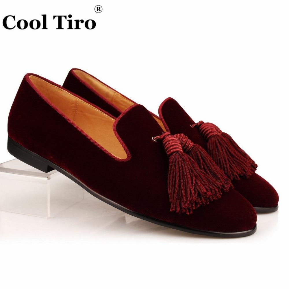 Cool Tiro Men Loafers Tassel Velvet Slippers Groom Wedding Dress Shoes Genuine Leather Men s Moccasins