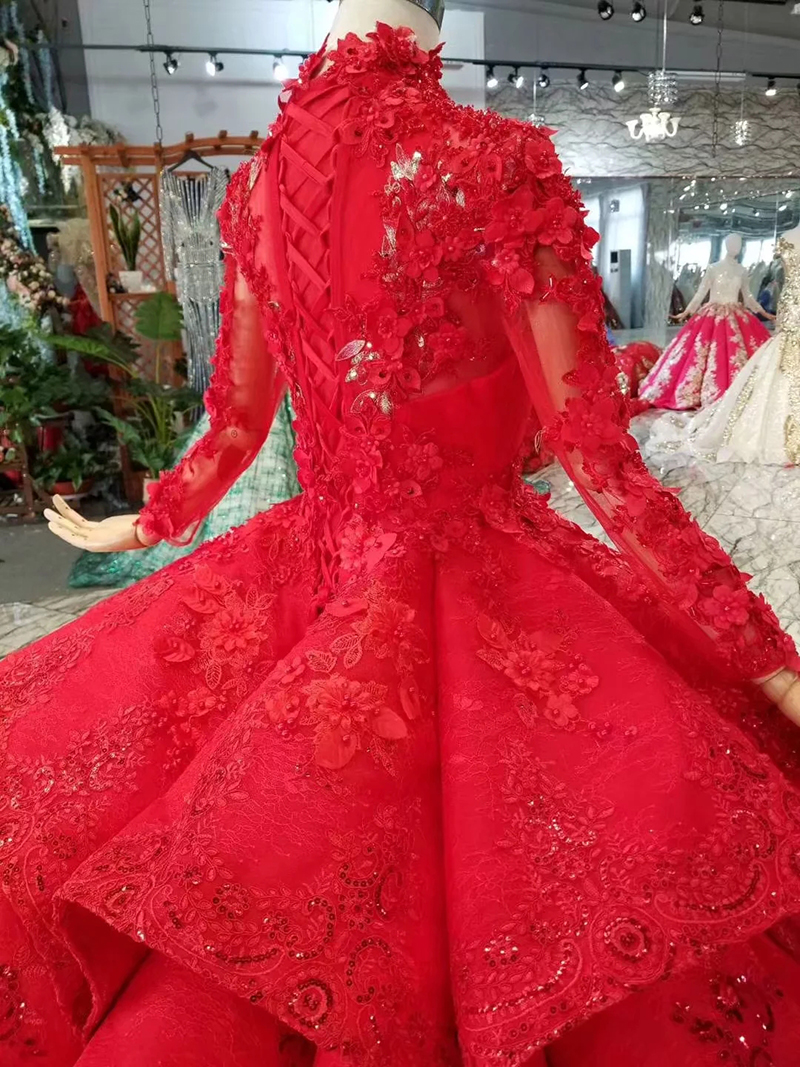 Image 5 - LS11290 ball gown evening dresses high neck long sleeves lace up back rose wedding party dresses pleat multi layer vestido longoEvening Dresses   -