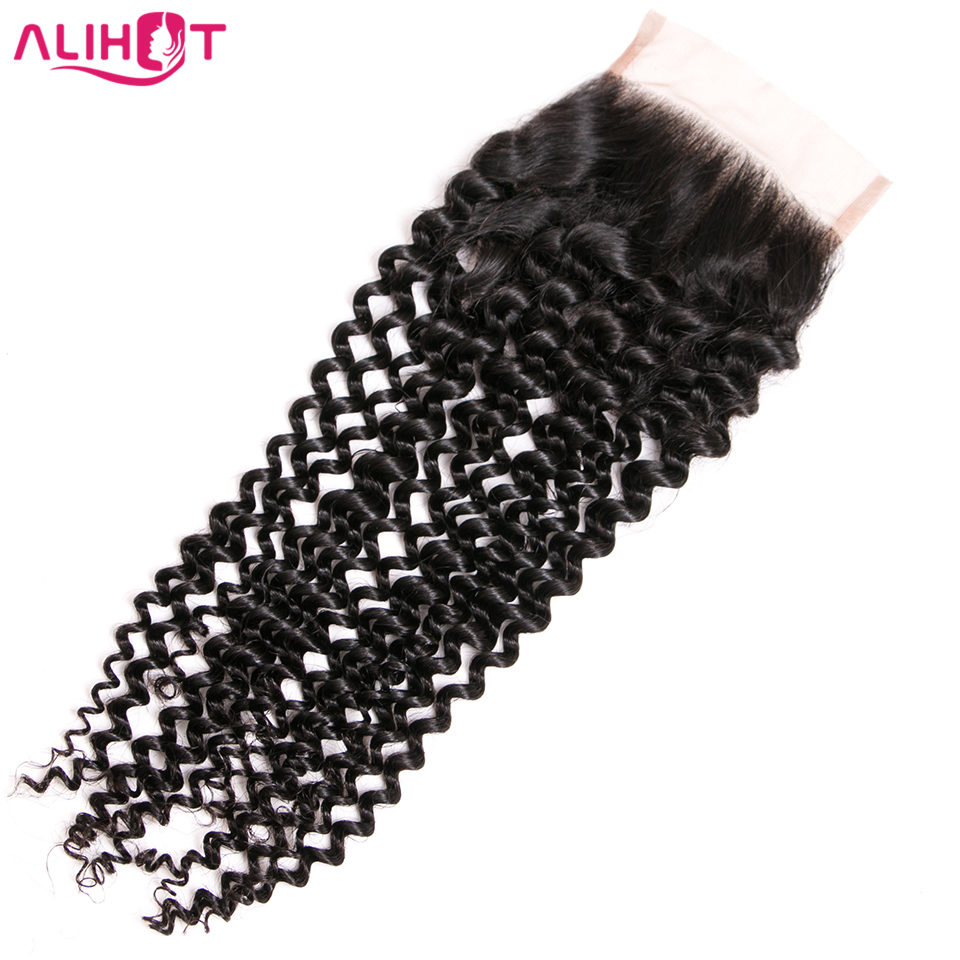ALI HOT Brazilian Kinky Curly Hair Lace Closure 4x4 Free Part Remy Human Hair Closure 8-18 Natural Color 130% Swiss Closure