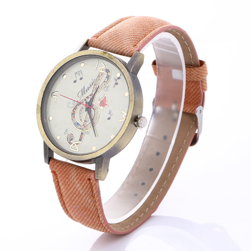 Simulation Leather Relojes Quartz-watch Women Watches Casual Music Note Round Alloy Clock reloj de mujer Nice Gift